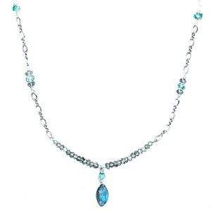 Labradorite, apatite and sterling silver necklace